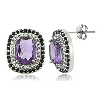 Glitzy Rocks Sterling Silver Amethyst and Black Spinel Cushion-cut Earrings