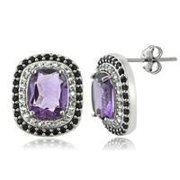 Glitzy Rocks Sterling Silver Amethyst and Black Spinel Cushion-cut Earrings