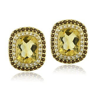 Glitzy Rocks 18k Gold Over Silver Citrine and Smokey Quartz Cushion-cut Earrings