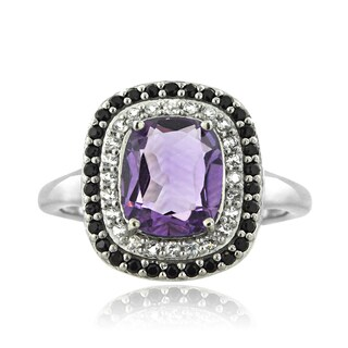 Glitzy Rocks Sterling Silver Amethyst and Black Spinel Cushion-cut Ring