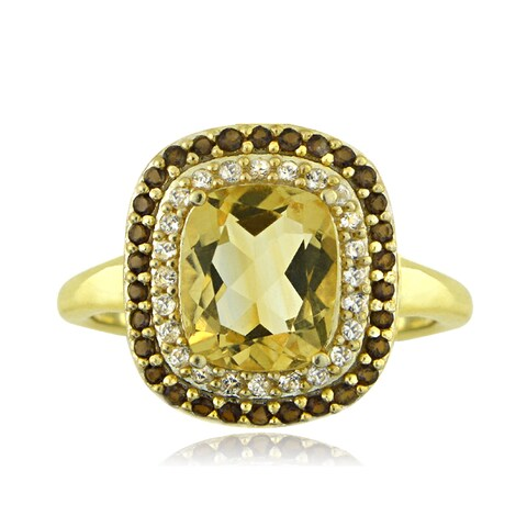 Glitzy Rocks 18k Gold Over Silver Citrine and Smokey Quartz Cushion-cut Ring