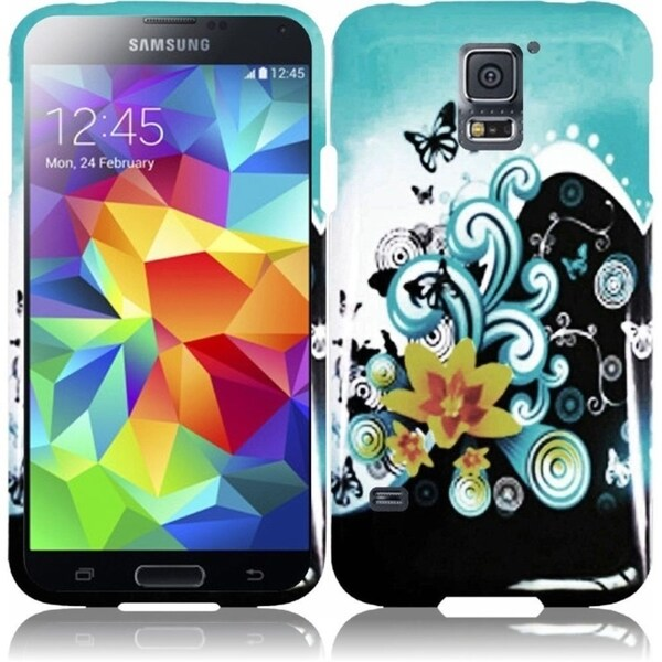 INSTEN Designed Rubberized Hard Plastic Flower Cover Phone Case Cover for Samsung Galaxy S5/ SV