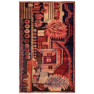 Herat Oriental Semi-antique Afghan Hand-knotted Tribal Balouchi Salmon/ Navy Wool Rug (2'10 x 4'8)