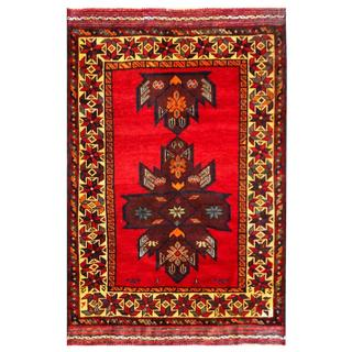 Herat Oriental Semi-antique Afghan Hand-knotted Tribal Balouchi Burgundy/ Navy Wool Rug (2'11 x 4'6)