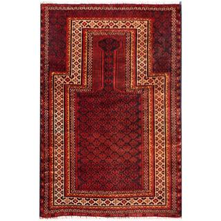 Herat Oriental Semi-antique Afghan Hand-knotted Tribal Balouchi Red/ Navy Wool Rug (2'10 x 4'2)