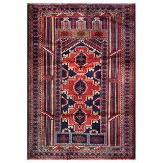 Herat Oriental Semi-antique Afghan Hand-knotted Tribal Balouchi Salmon/ Navy Wool Rug (2'10 x 4'4)