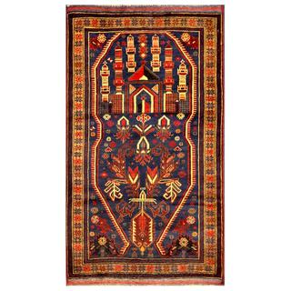 Herat Oriental Semi-antique Afghan Hand-knotted Tribal Balouchi Navy/ Beige Wool Rug (2'10 x 5'1)