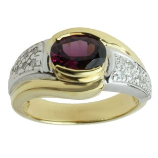 Michael Valitutti 18k Two-tone Gold Grape Garnet and 1/8ct TDW Diamond Ring (I-J, I1-I2)