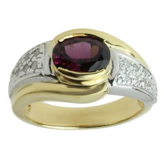 Michael Valitutti 18k Two-tone Gold Grape Garnet and 1/8ct TDW Diamond Ring (I-J, I1-I2)