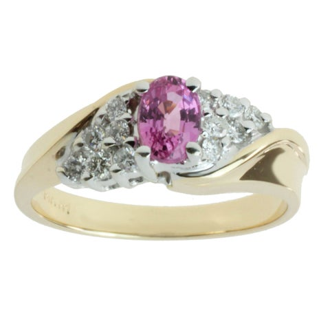 M.V. Jewels 14k Two-tone Gold Pink Sapphire and 1/3ct TDW Diamond Ring (I-J, I1-I2)