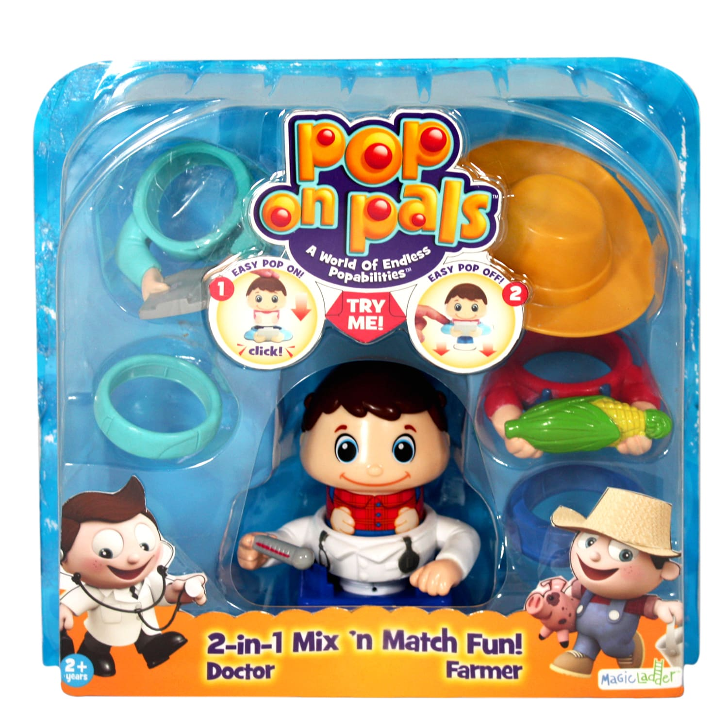 Spin Master Pop On Pals Farmer and Doctor (1), Multi