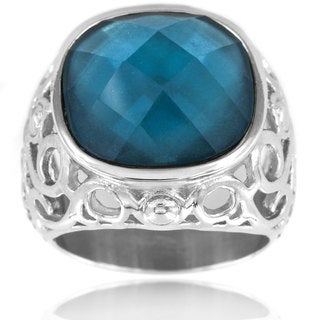 Stainless Steel Faceted Cushion-cut Blue Resin Ring