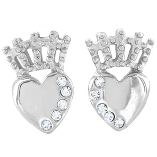 ELYA Stainless Steel Crystal Claddagh Stud Post Earrings