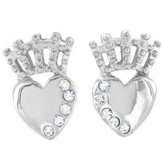 ELYA Stainless Steel Crystal Claddagh Stud Post Earrings
