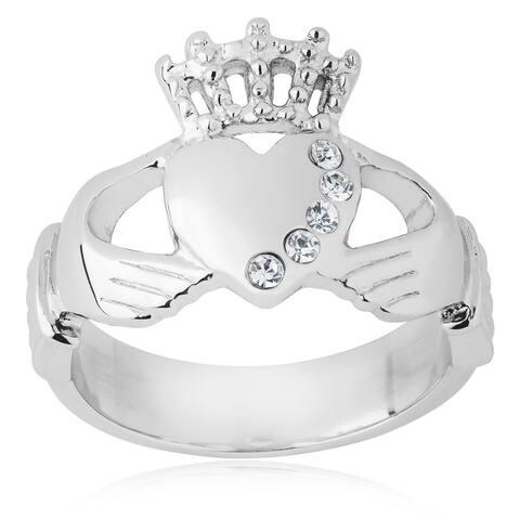 ELYA Stainless Steel Crystal Irish Claddagh Ring