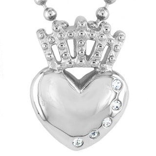 ELYA Stainless Steel Irish Claddagh Crystal Pendant Necklace