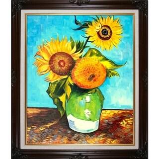 Vincent Van Gogh 'Sunflowers, First Version' Hand Painted Framed Canvas Art