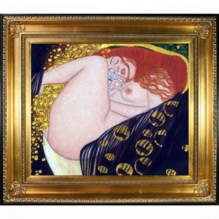 Gustav Klimt 'Danae (Luxury Line)' Hand Painted Framed Canvas Art