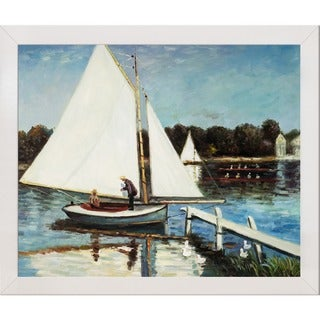 Claude Monet 'The Sailing at Argenteuil' Hand Painted Framed Canvas Art
