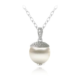 Glitzy Rocks Sterling Silver Diamond Accent Freshwater Cultured Pearl Drop Necklace
