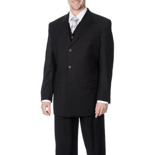 Caravelli Fusion Men's Black 3-piece Vested Suit (Option: 60l)|https://ak1.ostkcdn.com/images/products/9048521/Caravelli-Fusion-Mens-Black-3-piece-Vested-Suit-P16245371.jpg?impolicy=medium
