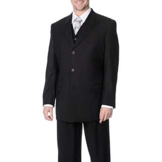 Caravelli Fusion Men's Black 3-piece Vested Suit|https://ak1.ostkcdn.com/images/products/9048521/Caravelli-Fusion-Mens-Black-3-piece-Vested-Suit-P16245371.jpg?impolicy=medium
