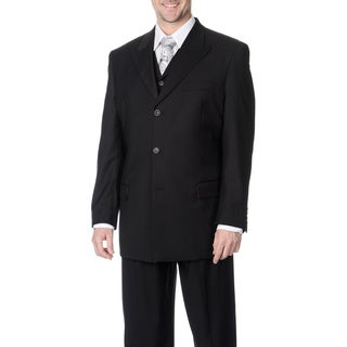 Caravelli Fusion Men's Black 3-piece Vested Suit