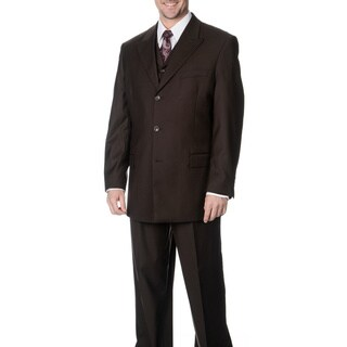 Caravelli Fusion Men's Brown 3-piece Vested Suit