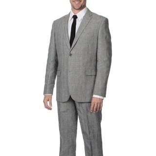 Reflections Men's Linen Blend Notch Lapel 2-button Grey Suit (More options available)