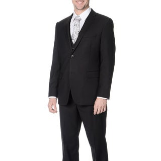 Caravelli Men's Slim Fit Black Vested Suit