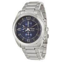 Seiko Men's  'Core' Stainless Steel Navy Chronograph Watch