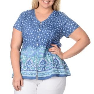 La Cera Women's Plus-size Puckered Floral Button-up Top