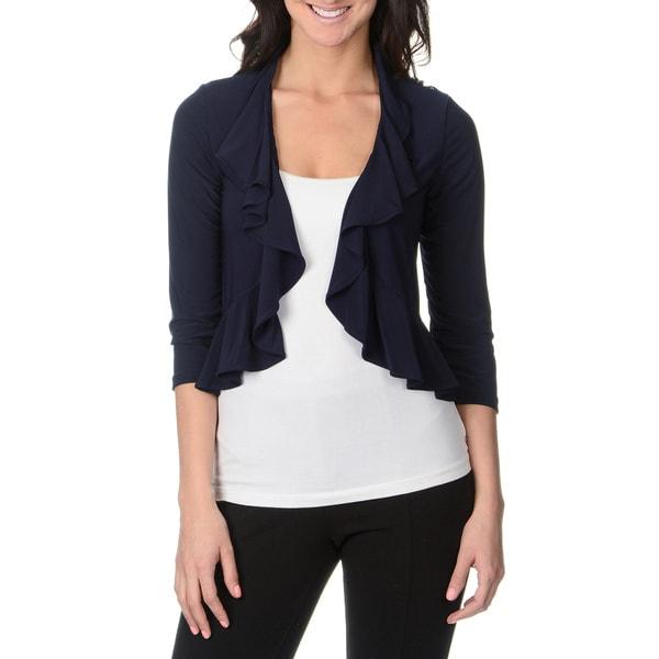Lennie for Nina Leonard Womens Navy Lace Back Jersey Knit Shrug