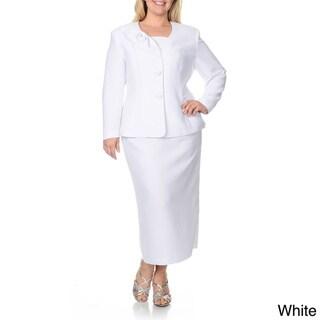 Giovanna Signature Women's Plus-size Mock 3-piece Skirt Suit
