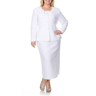 Giovanna Signature Women's Plus-size Mock 3-piece Skirt Suit