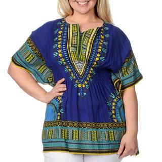 La Cera Women's Plus-size Ethnic Print Caftan Top