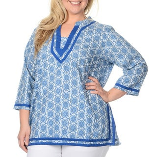 La Cera Women's Plus-size Medallion Print Tunic Top