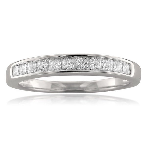 Montebello 14k White Gold 1/2ct TDW Princess-cut Channel-set Diamond Wedding Band