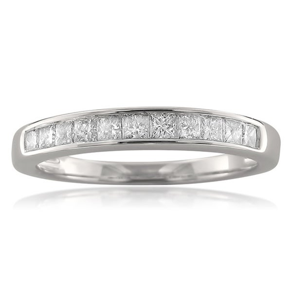 Montebello 14k White Gold 1/2ct TDW Princess-cut Channel-set Diamond Wedding Band