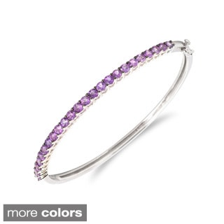 Sterling Silver Prong-set Gemstone Bangle Bracelet