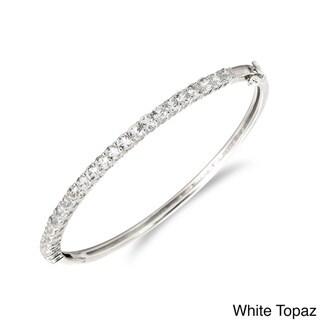 Sterling Silver Prong-set Gemstone Bangle Bracelet