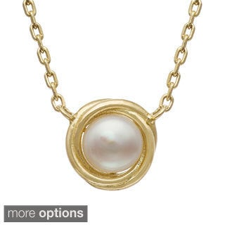 Gioelli Gold Over Silver Freshwater Pearl Swirl Necklace