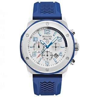 Bulova Men's 98B200 Analog Display Japanese Quartz Blue Chronograph Watch