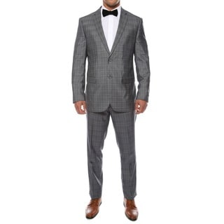 Zonettie by Ferrecci Men's Slim Fit Grey Plaid 2-piece Suit