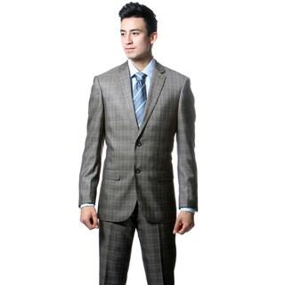 Zonettie by Ferrecci Men's Slim Fit Taupe Grey Plaid 2-piece Suit