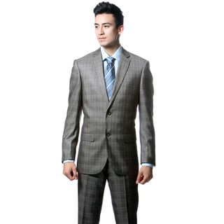 Zonettie by Ferrecci Men's Slim Fit Taupe Grey Plaid 2-piece Suit
