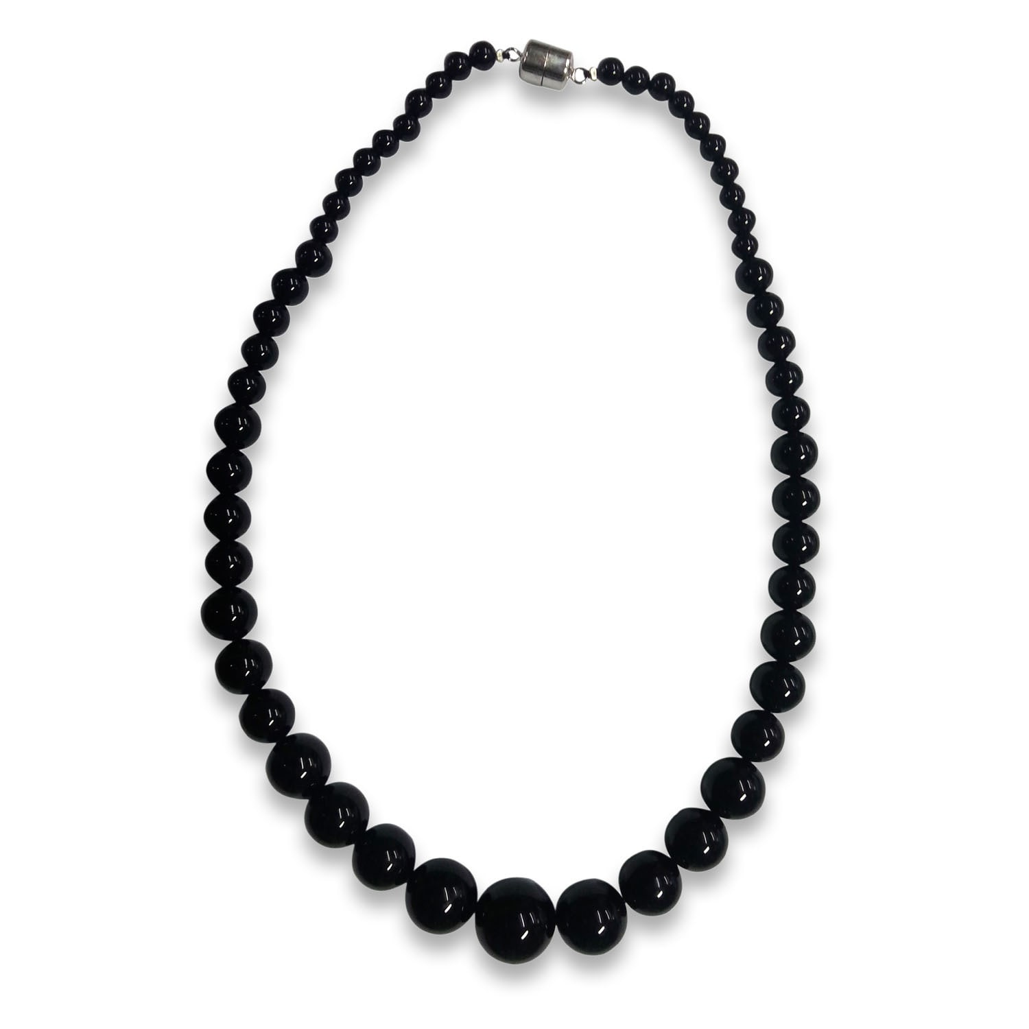 Sterling Silver Black Agate Graduated Bead Necklace (20 I...
