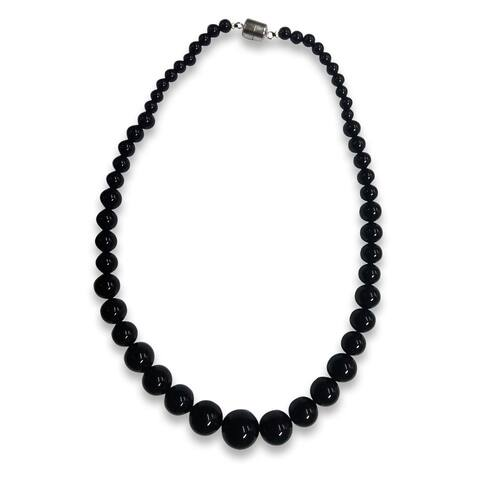 Sterling Silver Black Agate Graduated Bead Necklace - White