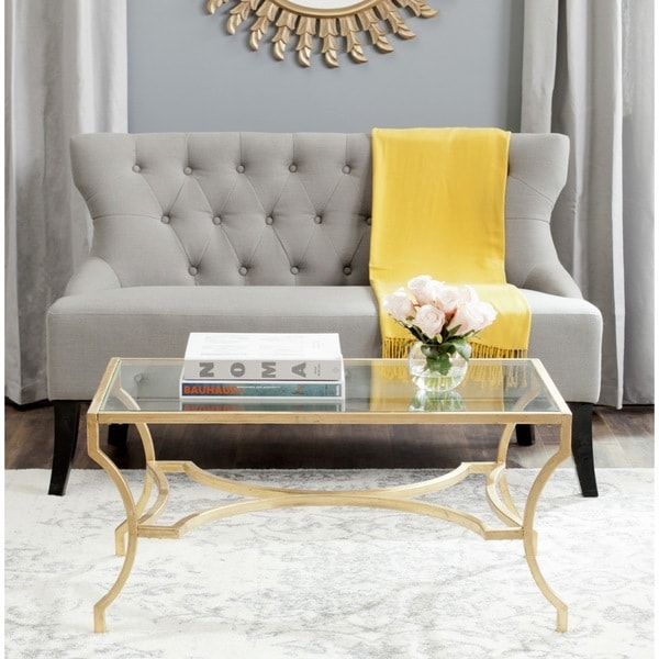 Gold Outdoor Coffee Table: Shop Safavieh Alphonse Gold Coffee Table