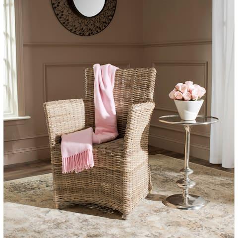 Safavieh Rural Woven Dining Natuna Kubu Soft Grey Rattan Arm Chair